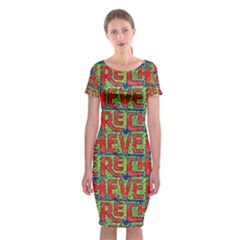 Typographic Graffiti Pattern Classic Short Sleeve Midi Dress by dflcprintsclothing