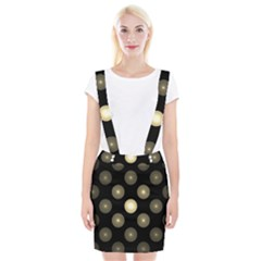 Gray Balls On Black Background Suspender Skirt