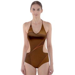 Brown Background Waves Abstract Brown Ribbon Swirling Shapes Cut Out One Piece Swimsuit