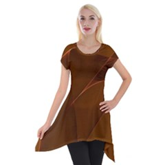 Brown Background Waves Abstract Brown Ribbon Swirling Shapes Short Sleeve Side Drop Tunic