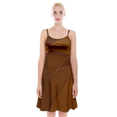 Brown Background Waves Abstract Brown Ribbon Swirling Shapes Spaghetti Strap Velvet Dress