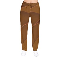 Brown Background Waves Abstract Brown Ribbon Swirling Shapes Drawstring Pants by Nexatart