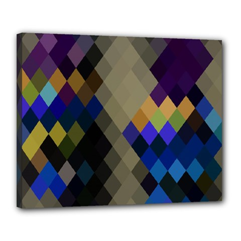 Background Of Blue Gold Brown Tan Purple Diamonds Canvas 20  X 16