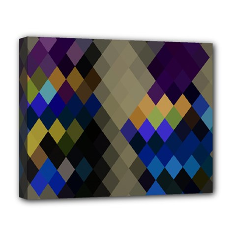 Background Of Blue Gold Brown Tan Purple Diamonds Deluxe Canvas 20  X 16   by Nexatart