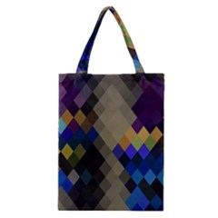 Background Of Blue Gold Brown Tan Purple Diamonds Classic Tote Bag by Nexatart