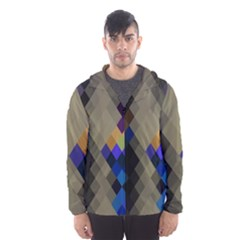 Background Of Blue Gold Brown Tan Purple Diamonds Hooded Wind Breaker (men) by Nexatart