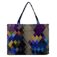 Background Of Blue Gold Brown Tan Purple Diamonds Medium Zipper Tote Bag by Nexatart