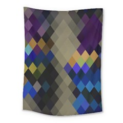 Background Of Blue Gold Brown Tan Purple Diamonds Medium Tapestry by Nexatart