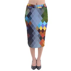 Diamond Abstract Background Background Of Diamonds In Colors Of Orange Yellow Green Blue And More Velvet Midi Pencil Skirt by Nexatart