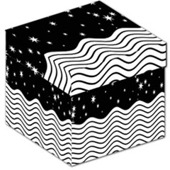 Black And White Waves And Stars Abstract Backdrop Clipart Storage Stool 12   by Nexatart