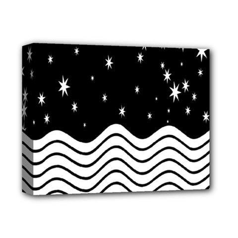 Black And White Waves And Stars Abstract Backdrop Clipart Deluxe Canvas 14  X 11  by Nexatart