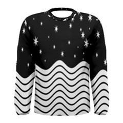 Black And White Waves And Stars Abstract Backdrop Clipart Men s Long Sleeve Tee by Nexatart