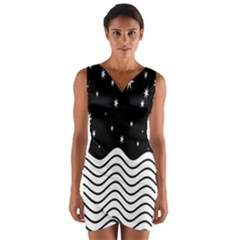 Black And White Waves And Stars Abstract Backdrop Clipart Wrap Front Bodycon Dress by Nexatart