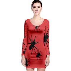 Illustration With Spiders Long Sleeve Bodycon Dress by Nexatart