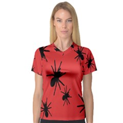 Illustration With Spiders Women s V Neck Sport Mesh Tee by Nexatart