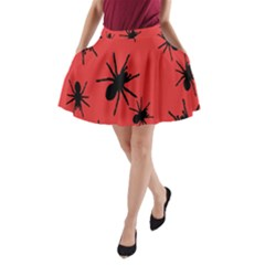 Illustration With Spiders A Line Pocket Skirt by Nexatart