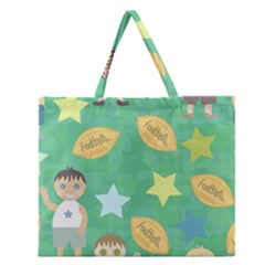 Football Kids Children Pattern Zipper Large Tote Bag