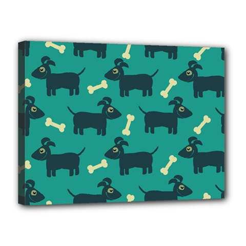 Happy Dogs Animals Pattern Canvas 16  X 12