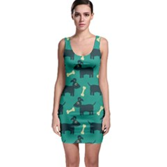 Happy Dogs Animals Pattern Sleeveless Bodycon Dress by Nexatart