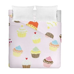 Seamless Cupcakes Wallpaper Pattern Background Duvet Cover Double Side (full/ Double Size)