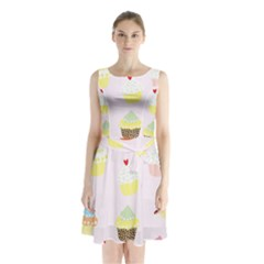 Seamless Cupcakes Wallpaper Pattern Background Sleeveless Chiffon Waist Tie Dress by Nexatart