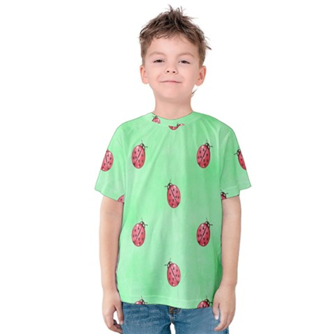 Pretty Background With A Ladybird Image Kids  Cotton Tee by Nexatart