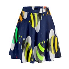Bees Cartoon Bee Pattern High Waist Skirt by Nexatart