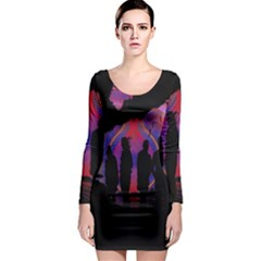 Abstract Surreal Sunset Long Sleeve Bodycon Dress
