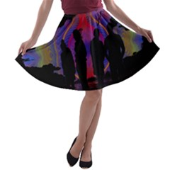 Abstract Surreal Sunset A Line Skater Skirt