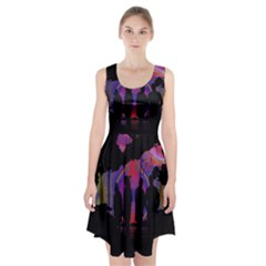 Abstract Surreal Sunset Racerback Midi Dress