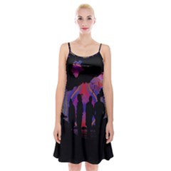 Abstract Surreal Sunset Spaghetti Strap Velvet Dress