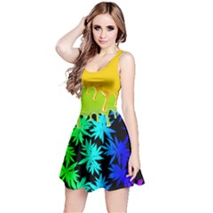 Colorful Liquid Dark Cannabis Marijuana Reversible Sleeveless Dress