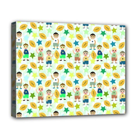 Football Kids Children Pattern Deluxe Canvas 20  X 16   by Nexatart
