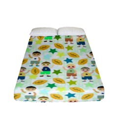 Football Kids Children Pattern Fitted Sheet (full/ Double Size) by Nexatart