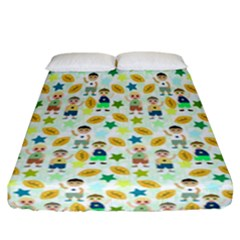 Football Kids Children Pattern Fitted Sheet (california King Size) by Nexatart