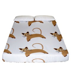 Cute Cats Seamless Wallpaper Background Pattern Fitted Sheet (king Size)