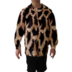 Yellow And Brown Spots On Giraffe Skin Texture Hooded Wind Breaker (kids) by Nexatart