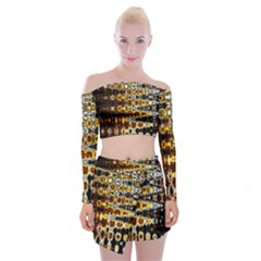 Bright Yellow And Black Abstract Off Shoulder Top With Skirt Set