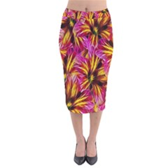 Floral Pattern Background Seamless Velvet Midi Pencil Skirt