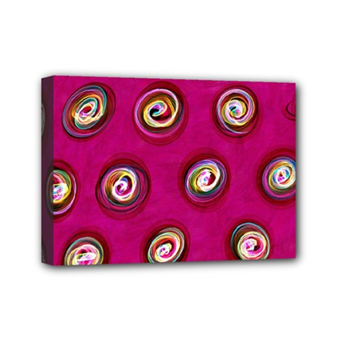 Digitally Painted Abstract Polka Dot Swirls On A Pink Background Mini Canvas 7  X 5  by Nexatart