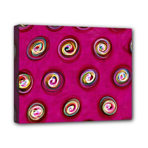 Digitally Painted Abstract Polka Dot Swirls On A Pink Background Canvas 10  X 8  by Nexatart