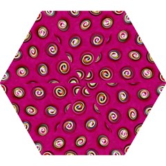 Digitally Painted Abstract Polka Dot Swirls On A Pink Background Mini Folding Umbrellas by Nexatart
