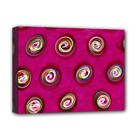 Digitally Painted Abstract Polka Dot Swirls On A Pink Background Deluxe Canvas 16  X 12   by Nexatart