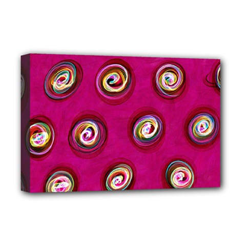 Digitally Painted Abstract Polka Dot Swirls On A Pink Background Deluxe Canvas 18  X 12   by Nexatart