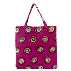 Digitally Painted Abstract Polka Dot Swirls On A Pink Background Grocery Tote Bag by Nexatart