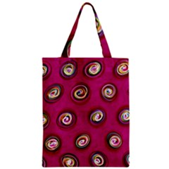 Digitally Painted Abstract Polka Dot Swirls On A Pink Background Zipper Classic Tote Bag by Nexatart