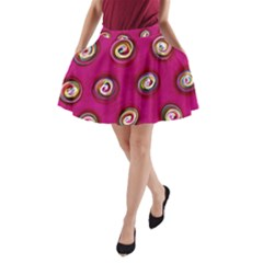 Digitally Painted Abstract Polka Dot Swirls On A Pink Background A-line Pocket Skirt by Nexatart