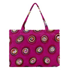 Digitally Painted Abstract Polka Dot Swirls On A Pink Background Medium Tote Bag