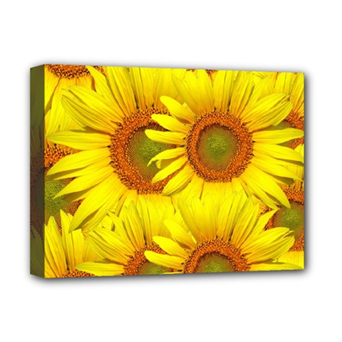 Sunflowers Background Wallpaper Pattern Deluxe Canvas 16  X 12   by Nexatart