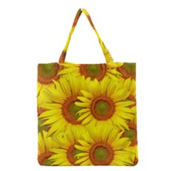Sunflowers Background Wallpaper Pattern Grocery Tote Bag